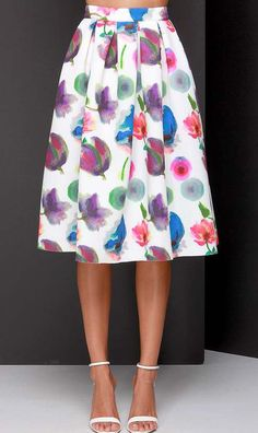 Posie On Over Ivory Floral Print Midi Skirt... I am obsessed with the pleats in this!!
