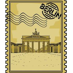 'Berlin Stamp' Sticker by Brandenburg Gate, Cool Stickers, Cool T Shirts, Berlin, Finding Yourself, Laptop, Iphone Cases, Stamp