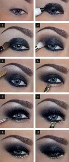 make up guide DAS perfekte Silvester Make-Up! make up glitter;make up brushes guide;make up samples; Dark Eye Makeup, Love Makeup, Skin Makeup, Beauty Makeup, Makeup Eyeshadow, Mac Makeup, Makeup Brushes, Blue Eyeshadow, Perfect Makeup