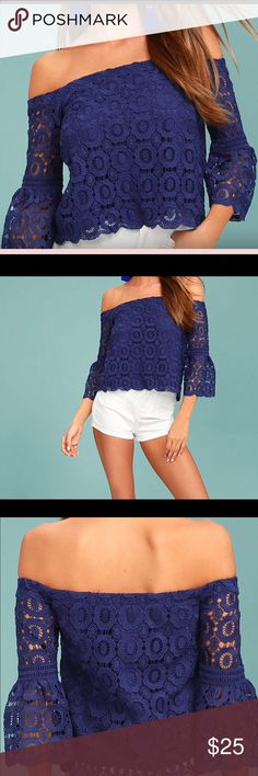 Lulus off the shoulder bell sleeve top nwot sz med Beautiful crochet lace sapphire blue off the shoulder top. Bell sleeves 3/4 length. Fully lined. New without tags. Lulu's Tops