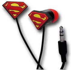 DC Comics Superman Triangle Shield Rubber Tip Ear Buds Headphones