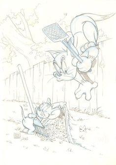 Cartoon Sketches, Animal Sketches, Cartoon Styles, Cartoon Art, Old Cartoons, Classic Cartoons, Animated Cartoons, Tom And Jerry Drawing, Tom And Jerry Cartoon