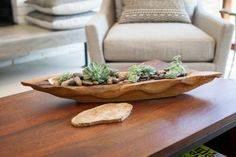 As seen on Fixer Upper, a design element for the living room's coffee table has a natural feel to it.