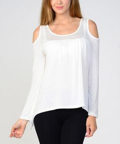 Love this White Cutout Top by Bellino on #zulily! #zulilyfinds