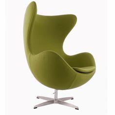 Egg Stuhl im Arne Jacobsen Stil Olivegrüne Wolle