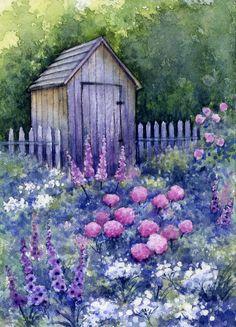 ACEO Original Miniature Watercolor Garden Flowers by Elena Mezhibovsky #Miniature