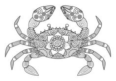 Cangrejo de zentangle dibujada para colorear libro para audult a mano, tatuaje y así sucesivamente — Vector de stock