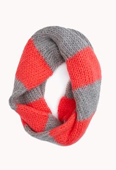 Forever 21 Cold Days Striped Infinity Scarf in Red (NEON CORAL/GREY)