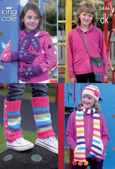 Girl's Knitted Hat, Scarves, Gloves, bag and Legwarmers all in Vibrant colours to catch the eye - King Cole