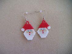 Hand stitched Santa Earrings via Etsy
