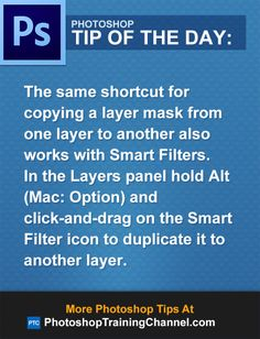 The same shortcut for copying a layer mask from one layer to another also works with Smart Filters.In the Layers panel hold Alt (Mac: Option) and click-and-drag on the Smart Filter icon to duplicate it to another layer.