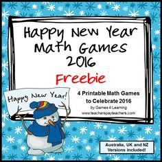 FREEBIES - New Years 2016 Math Games is a set of 4 math board games by Games 4 Learning to celebrate the start of the 2016 New Year!