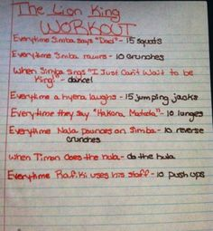The Lion King movie workout! Want to see more movie workouts? Disney Movie Workouts, Tv Show Workouts, Disney Workout, Fun Workouts, At Home Workouts, Workout Ideas, Mom Workout, Volleyball Workouts, Workout Exercises