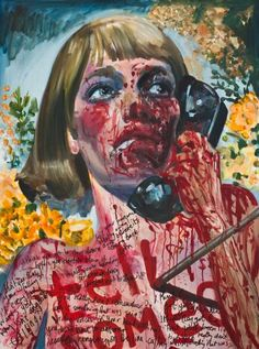 "Dawn Mellor  ""Mia Farrow"", 2010  Oil and marker pen on canvas"