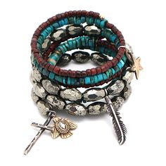 Love Tokens Spiral Bracelet with Red Jade, Turquoise and Pyrite ($363) ❤ liked on Polyvore