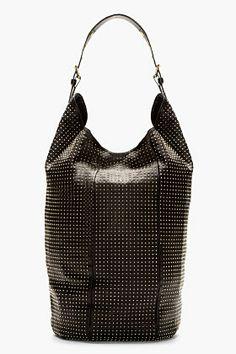 GIUSEPPE ZANOTTI Black Leather Studded Bucket Bag