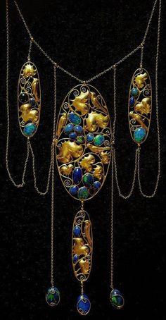 Pietra dura opal and gold necklace, designed by Carl Otto Czeschka and executed…