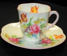SHELLEY DAINTY PINK ROSE ORANGE TULIP DEMI TEA CUP AND SAUCER