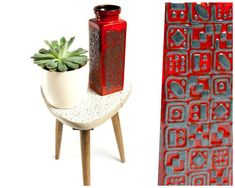 Carstens vase, ceramic vase, red vase, 60s vase, West German pottery, mid century modern, retro decor, modern vase, vintage flower vase by VintageEuropeDesign on Etsy