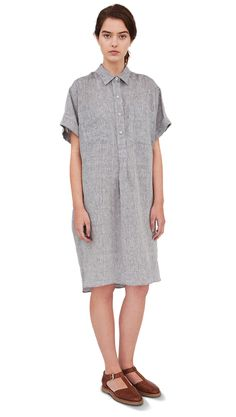 SS13 Blue Chambray Linen Loose Shirt Dress, Tan Leather Sandal