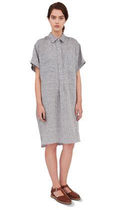 SS13 Blue Chambray Linen Loose Shirt Dress, Tan Leather Sandal