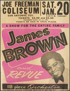 [POSTER ART] James Brown & His 18 Piece Orchestra, Joe Freeman Coliseum, San AntonioTexas