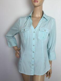 Cato Solid Aqua Blue V Neck Button Down Flap Pockets Shirt Women's Medium | eBay