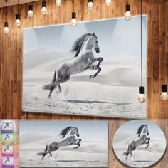 Designart 'Galloping Horse' Animal Metal Wall Art