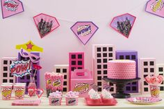 Pink Comic Book Superhero Party Ideas