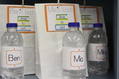 Back to school - Lunch bag tags and water bottle labels via BellaGrey Designs