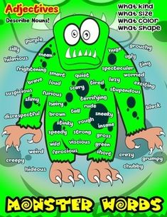 Monster Words Adjective Poster #Adjectives