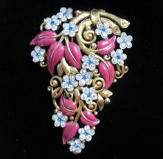 Vintage Crown Trifari Philippe Rhinestone and Enamel Floral Fur Clip Pin | eBay