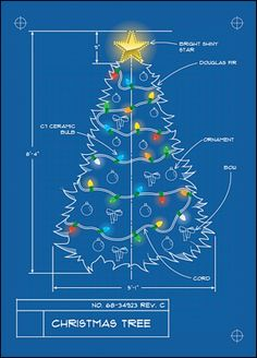 "Christmas Tree Blueprint ""architecture"" themed Christmas Card"