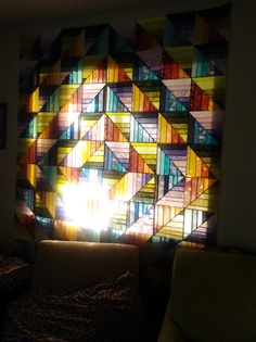 Quilt by Lorraine Hunt - Stained-glass Diamond quilt curtain