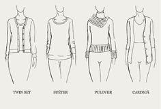 """Suéter – É uma malha de lã fina, fechada, geralmente de gola redonda, feita para ser usada sob casacos, paletós, mantôs, etc. Pulôver – Como diz o nome, é para ser """"colocado sobre"""", ou seja, é uma malha de lã mais grossa, que pode ser fechada ou não. Cardigã – É uma malha abotoada na frente, feita para usar sobre camisetas, blusas, camisas ou outras malhas. Twin set – É o conjunto formado por um suéter de mangas curtas ou longas, gola redonda, e um cardigã da mesma lã e cor."""
