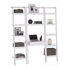 "Sawyer White Leaning Desk with Two 18"" Bookcases in Bookcases 