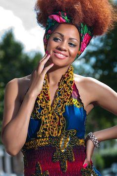 African-Wax-Print-Ruffle-Halter-Neck-Dress-8 zanjoo lookbook, peeks, afro, natural hair, hair wrap, colourful dress, black girls,