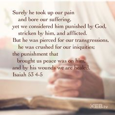 He knows our pain and suffering and has already given us the peace and healing we need. #verseoftheday #livewell Verse Of The Day, Bible Scriptures, Crushes, Bring It On, Healing, Peace, God, Dios, Praise God