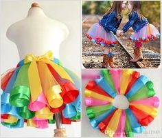 Indexp Girls Bowknot Skirt Kids Petticoat Rainbow Pettiskirt Tutu Dress