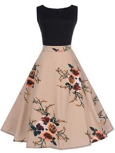 Women Dress,FeiXiang Vintage Floral Print Bodycon Sleeveless O-Neck Pleated Elegant Evening Party Dress Spring Dress (XX-Large, Pink) Cute Prom Dresses, Dresses For Teens, Dance Dresses, Elegant Dresses, Pretty Dresses, Homecoming Dresses, Vintage Dresses, Beautiful Dresses, Casual Dresses