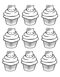 Free Coloring Page Coloring Cupcakes Hello Kitty Simple. Some Cupcakes With