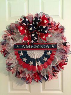 Patriotic Wreath, Fourth of July Wreath, Memorial Day Wreath, America Wreath, USA Wreath, Deco Mesh Wreath, Americana Wreath, Wreath by RoesWreaths on Etsy https://www.etsy.com/listing/235550491/patriotic-wreath-fourth-of-july-wreath