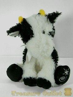 Russ Berrie Shining Stars Stuffed Plush Beanie Black And White Cow Bull 9in