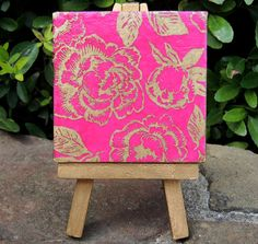 $12 isn't this pretty? Mini canvas with gold flowers on pink canvas with gold easel. Give a mini canvas as a cute gift! :)