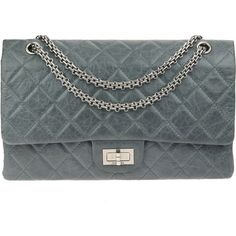 638bae83ab1a Pre-owned Chanel Grey Quilted 50th Anniversary 2.55 Reissue Double...  (186,120 DOP) ❤ liked on Polyvore featuring bags, handbags, chain handbags,  ...
