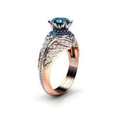 Blue Diamond Engagement Ring Unique Halo Ring Two Tone Gold Engagement Ring – diamond rings princess cut Princess Cut Rings, Princess Cut Engagement Rings, Unique Diamond Engagement Rings, Unique Rings, Halo Diamond, Diamond Rings, Natural Blue Diamond, Natural Diamonds, Piercing