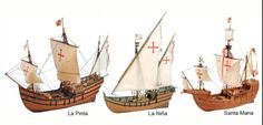 These were the three ships that were used in Christopher Columbus's voyage. La Niña, la pinta y la Santa Maria. Nina Pinta Santa Maria, Christopher Columbus Voyages, Rustic Painting, Larp, Model Ship Building, Ship Drawing, Coffee Illustration, Wooden Ship, History Projects
