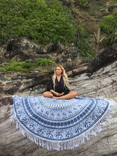 Round Mandala Indian Bohemian Elephant Tapestry Beach Picnic Throw Towel Rug #HandmadeCraftaura #MandalaRoundBeachThrowTapestryTableCover