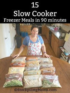 How to make 15 Slow Cooker Freezer Meals in 90 minutes for your family's dinners! Enjoy our 15 Slow Cooker Freezer Meals in 90 minutes meal plan. This plan will allow you to have dinner planned for almost three weeks! Chicken Freezer Meals, Freezable Meals, Slow Cooker Freezer Meals, Make Ahead Freezer Meals, Crockpot Dishes, Slow Cooker Recipes, Easy Meals, Cooking Recipes, Freezer Cooking