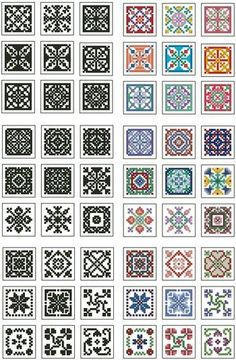Mini Biscornu Cross Stitch Collection 2; this is a very nice website; her patterns are easily downloadable and  inexpensive.  These patterns have been downloaded to disk.